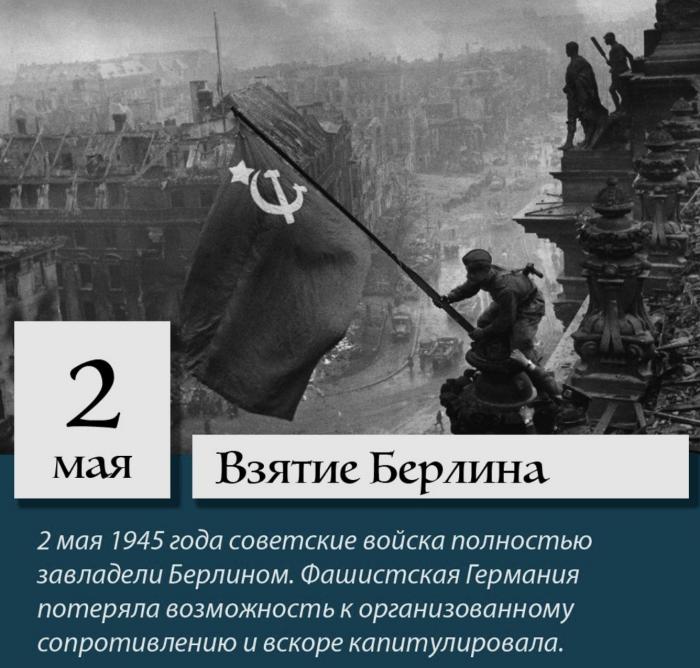 2 мая 1945 года советские войска полностью заняли столицу Германии Берлин