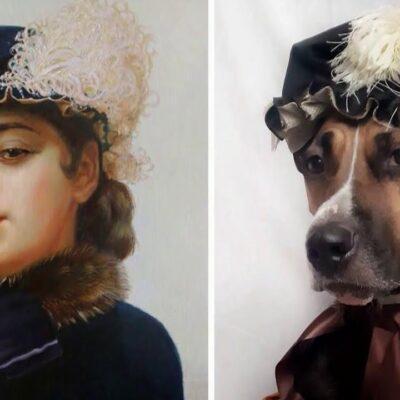 Псковская собачка Ханна прославилась на весь мир, изображая на карантине шедевры живописи