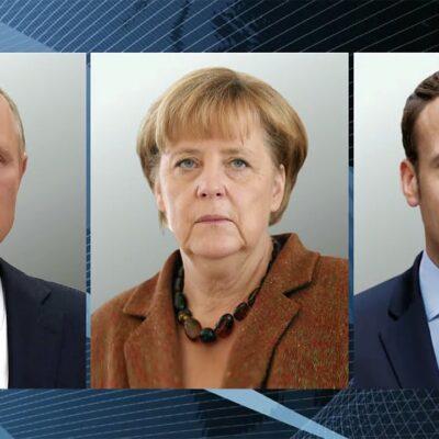 Владимир Путин обсудил с Эммануэлем Макроном и Ангелой Меркель острые международные темы